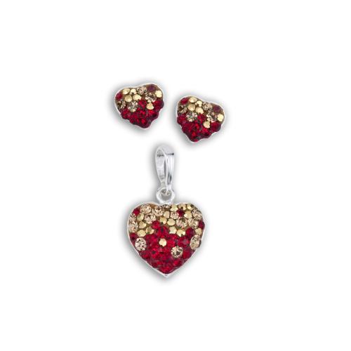Сребърен комплект обеци и медальон с кристали от Swarovski® SKM152 Golden Red