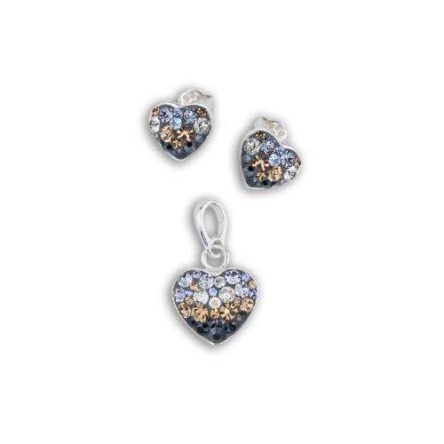 Сребърен комплект обеци и медальон с кристали от Swarovski® SKM152 Smoky Mauve