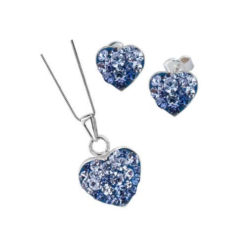 Сребърен комплект обеци и медальон с кристали от Swarovski® SKM152 Tanzanite and Violet