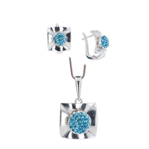 Сребърен комплект обеци и медальон с кристали от Swarovski® SKM156 Aquamarine