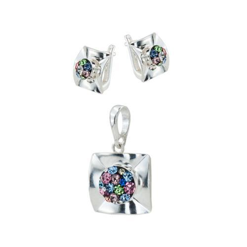 Сребърен комплект обеци и медальон с кристали от Swarovski® SKM156 Multicolor