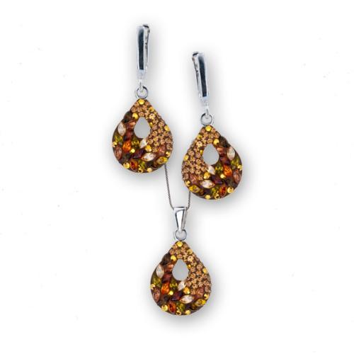 Сребърен комплект обеци и медальон с кристали от Swarovski® SKM157 Autumn Gold