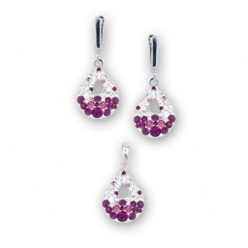 Сребърен комплект обеци и медальон с кристали от Swarovski® SKM157 Crystal and Amethyst