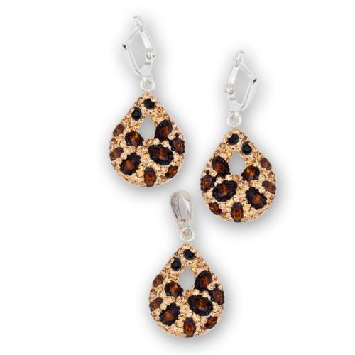Сребърен комплект обеци и медальон с кристали от Swarovski® SKM157 Leopard