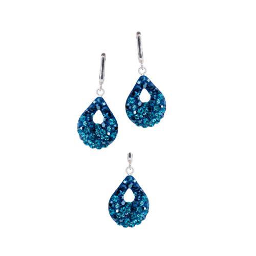 Сребърен Комплект Обеци И Медальон С Кристали От Swarovski® SKM157 Metallic Blue