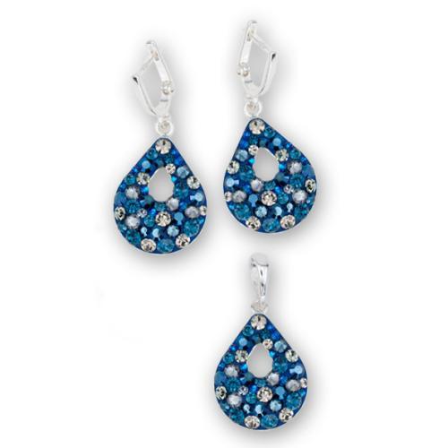 Сребърен комплект обеци и медальон с кристали от Swarovski® SKM157 Metallic Blue and Black Diamond