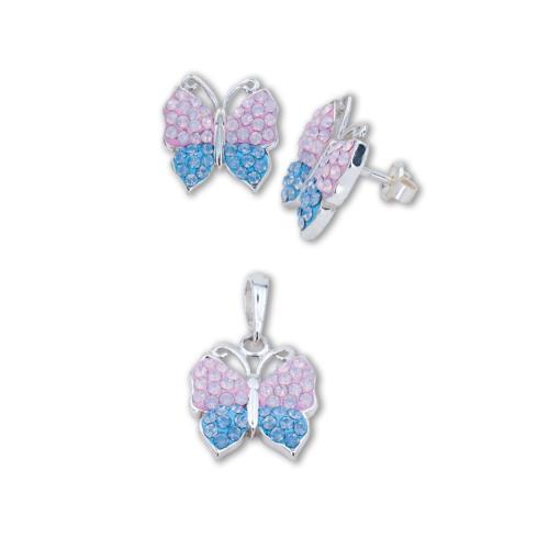 Сребърен комплект обеци и медальон с кристали от Swarovski® SKM158