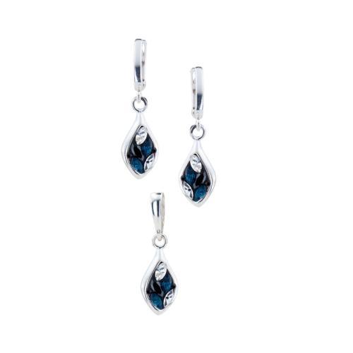 Сребърен Комплект Обеци И Медальон С Кристали От Swarovski® SKM159 Royal