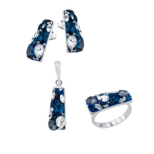 Сребърен комплект колие, обеци и пръстен с кристали от Swarovski® SKM372 Royal
