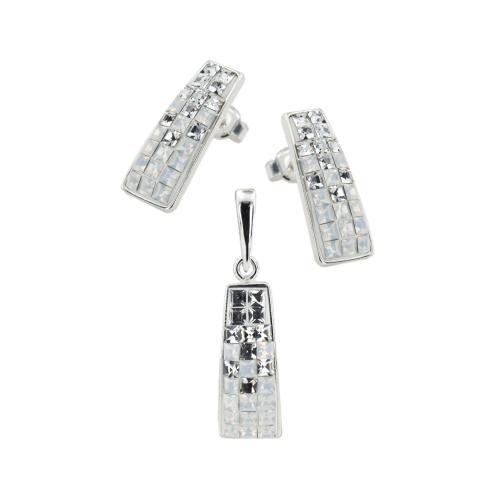 Сребърен комплект медальон и обеци с кристали от Swarovski® SKM372 White Opal and Crystal квадрати