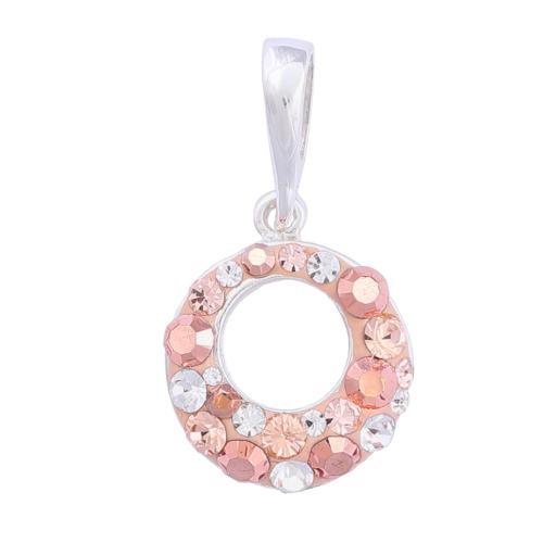 Сребърен медальон с кристали от Swarovski® SM353 Peach Gold