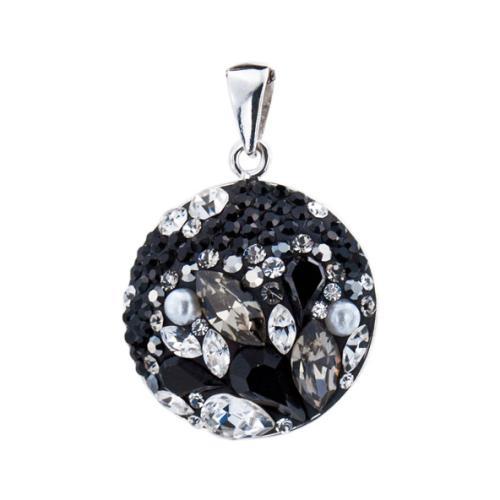 Сребърен медальон с кристали от Swarovski® SM204 Black Marquise