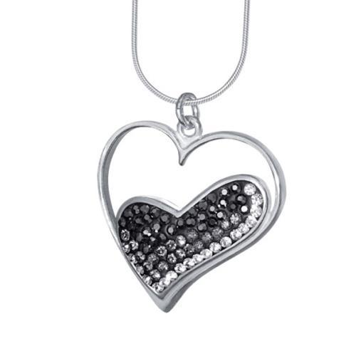 Сребърен медальон с кристали от Swarovski® SM217 Hematite, Black Diamond and Crystal