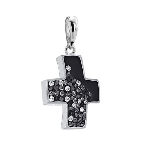 Сребърен медальон с кристали от Swarovski® SM219 Black Diamond and Crystal