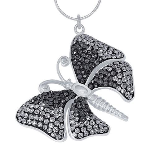 Сребърен медальон с кристали от Swarovski® SM223 Black Diamond and Jet
