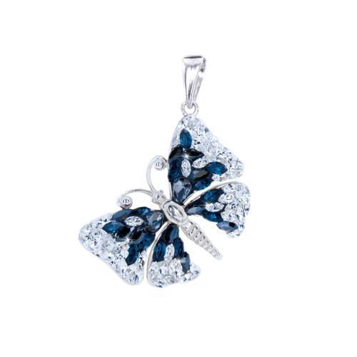 Сребърен медальон с кристали от Swarovski® SM223 Blue Marquise