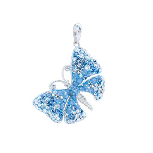 Сребърен медальон с кристали от Swarovski® SM223 Deep Blue