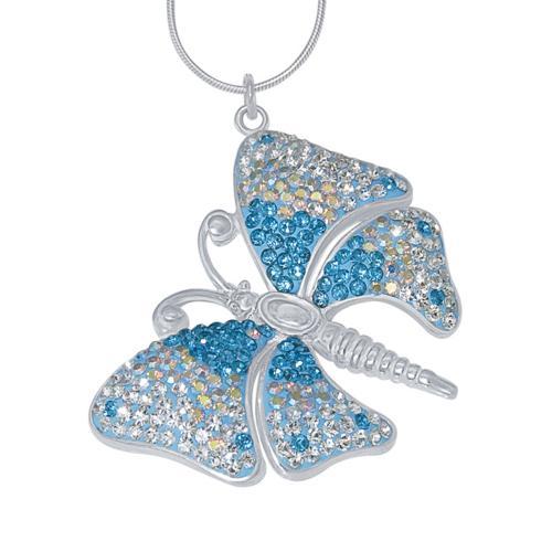Сребърен медальон с кристали от Swarovski® SM223 Aquamarine, Crystal, AB Crystal