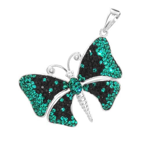 Сребърен медальон с кристали от Swarovski® SM223 Jet and Emerald