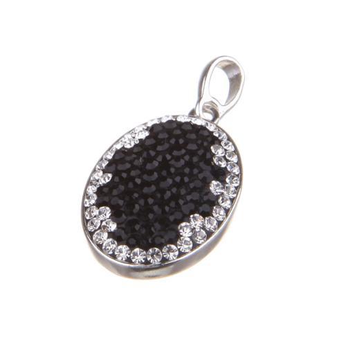 Сребърен медальон с кристали от Swarovski® SM238 Black and White