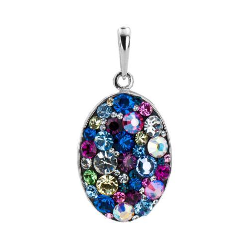Сребърен медальон с кристали от Swarovski® SM238 Multicolor