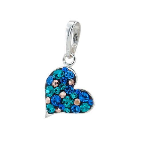 Сребърен медальон с кристали от Swarovski® SM253 Indian Blue