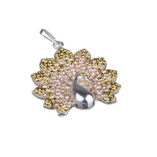 Сребърен медальон с кристали от Swarovski® SM266 Aurum and Light Peach