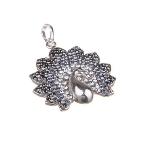 Сребърен медальон с кристали от Swarovski® SM266 Hematite Steel Crystal