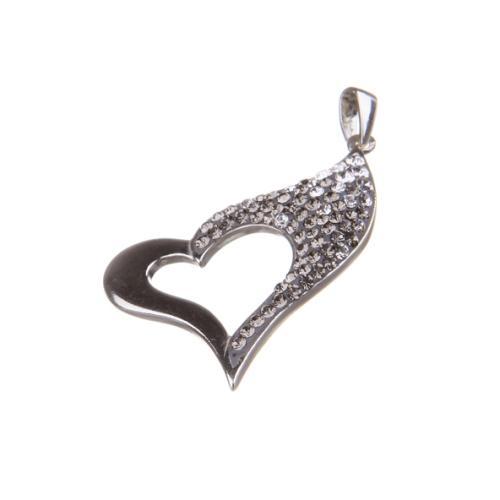 Сребърен медальон с кристали от Swarovski® SM267 Crystal and Black Diamond