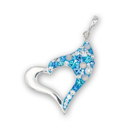 Сребърен медальон с кристали от Swarovski® SM267 Deep Blue