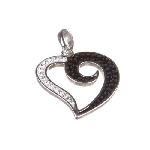 Сребърен медальон с кристали от Swarovski® SM268 Black and White