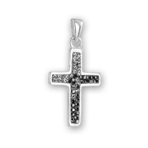 Сребърен медальон с кристали от Swarovski® SM281 Steel and Hematite
