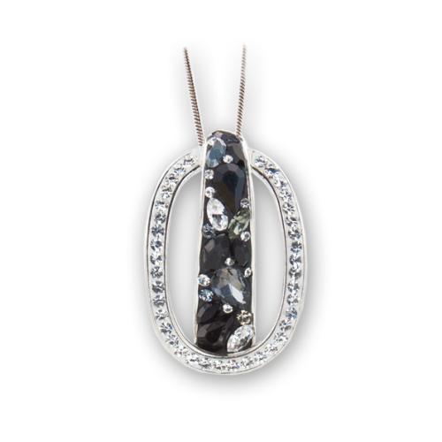 Сребърен медальон с кристали от Swarovski® SM286 Black Marquise