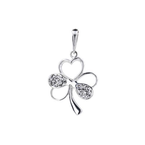 Сребърен Медальон четирилистна детелина С Кристали От Swarovski® SM292 Crystal