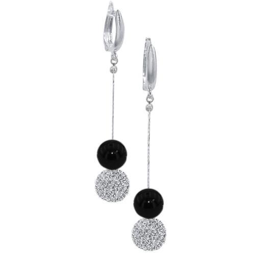 Сребърни обеци с кристали от Swarovski® SO354 Black Onyx