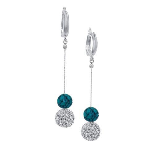Сребърни обеци с кристали от Swarovski® SO354 Crystal & Turquoise