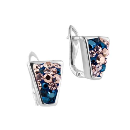Сребърни обеци с кристали от Swarovski® SO359 Metallic Rose Gold