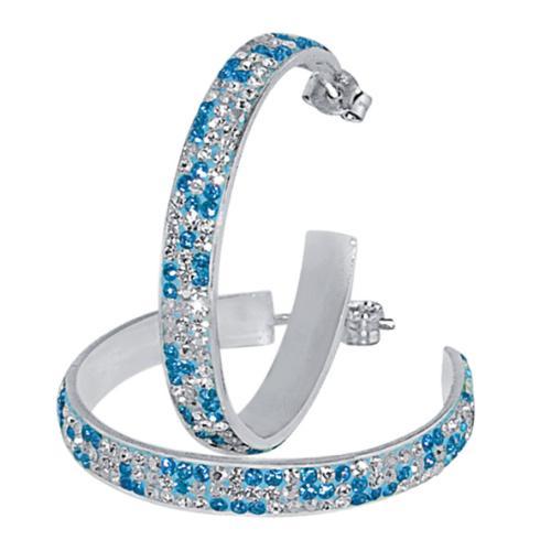 Сребърни обеци с кристали от Swarovski® SO308 Aquamarine, Crystal, AB Crystal