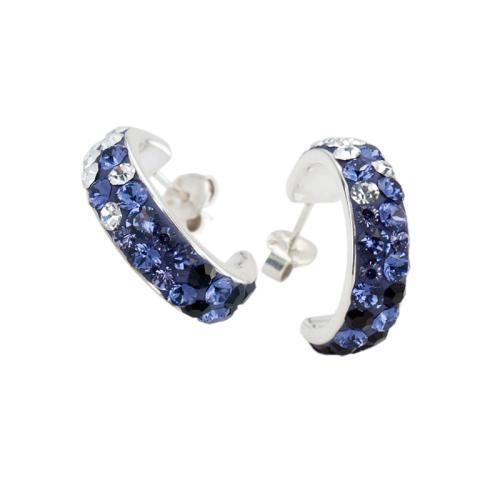 Сребърни Обеци С Кристали От Swarovski® SO312 Crystal, Tanzanite and Hematite