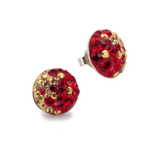 Сребърни обеци с кристали от Swarovski® SO314 Golden Red