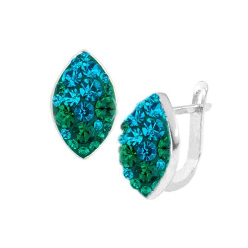 Сребърни обеци с кристали от Swarovski® SO319 Blue Zircon and Emerald