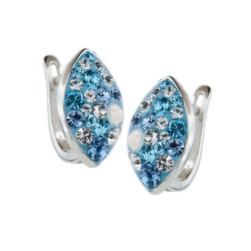 Сребърни обеци с кристали от Swarovski® SO319 Deep Blue