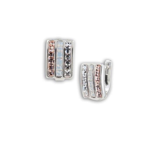 Сребърни обеци с кристали от Swarovski® SO350 Crystal and Light Peach Квадрати