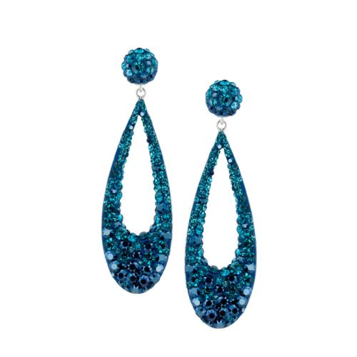 Сребърни Обеци С Кристали От Swarovski® SO371 Metallic Blue and Indicolite