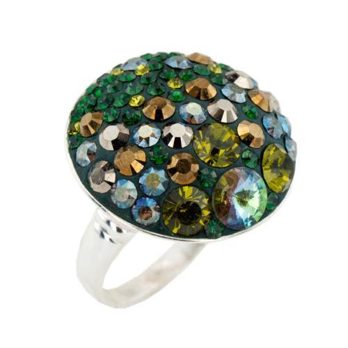 Сребърен пръстен с кристали от Swarovski® SP601 Fern Green