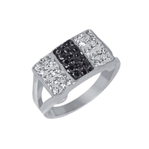 Сребърен пръстен с кристали от Swarovski® SP612 Black and White