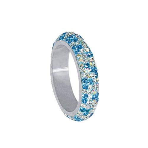 Сребърен пръстен с кристали от Swarovski® SP613 Crystal, Aquamarine, AB Crystal