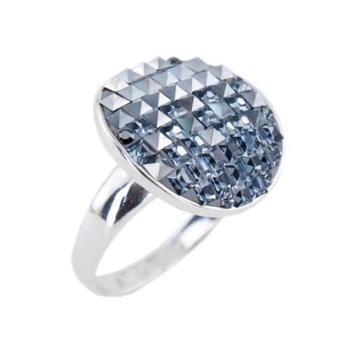 Сребърен пръстен с кристали от Swarovski® SP623 Hematite & Steel квадрати