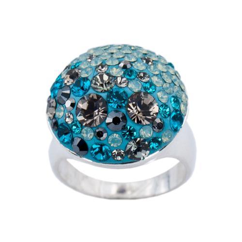 Сребърен пръстен с кристали от Swarovski®  SP625 Petrol