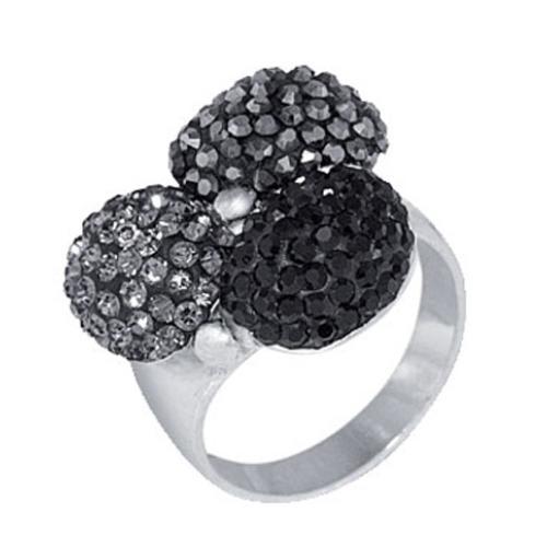 Сребърен пръстен с кристали от Swarovski®  SP626 Black